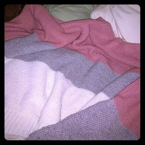 Comfy-casual pink/white/grey colorblock sweater